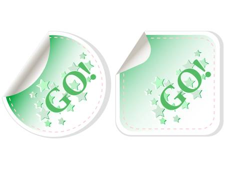 GO label for design isolated on white Vector