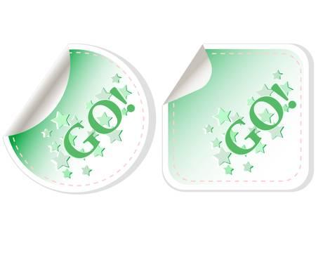 GO-label voor het ontwerp op een witte Stockfoto - 11155038