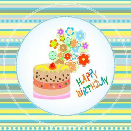 Happy birthday cakes flower design. vector card Çizim