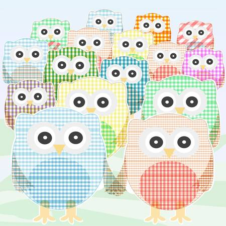 lighthearted: owls Collection cute and colorful. vector Illustration