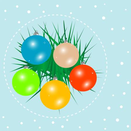 glistering: Christmas ball on green spruce branch