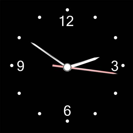wall clock: round office wall clock isolated on black. vector Illustration