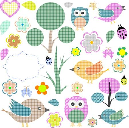cartoon owl: Set of nature textile stickers Illustration