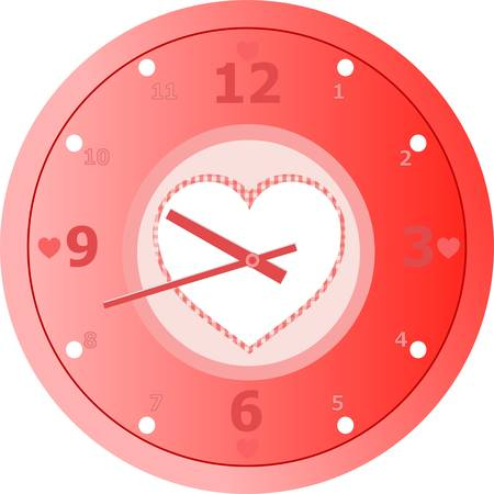 red love Clock with heart shaped in dial plate Vector Vector
