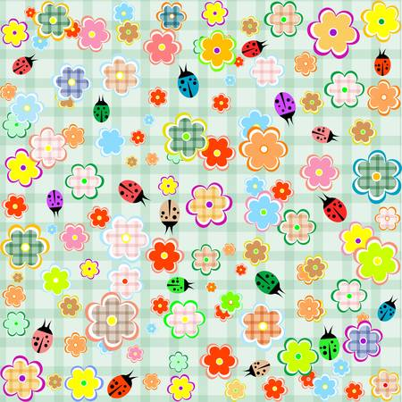 Flowers and ladybugs seamless pattern background