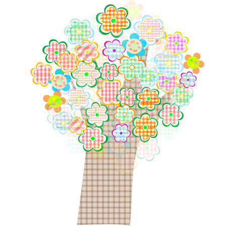 primavera: bird and tree with flowers and leaves. Vector Stock Photo