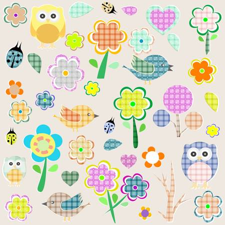 Retro spring nature and animal elements. vector background Vector