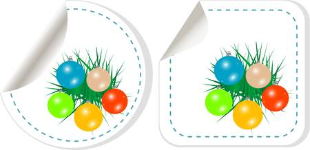 vector set of christmas stickers with new year balls Stock Vector - 11536021