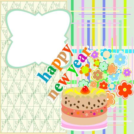 Christmas cakes with floral decoration. New year theme Vector