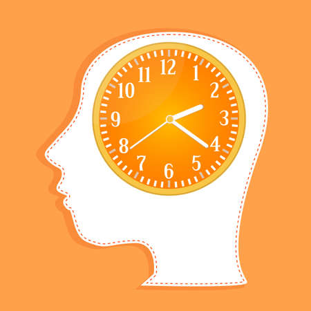 clocks in people head. invitation card Stock Photo - 11536071