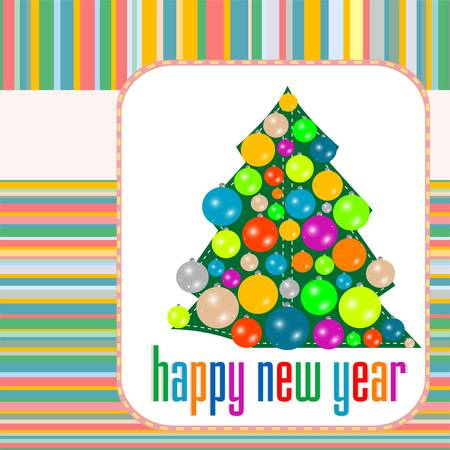 Christmas balls on tree Eve. New Year vector abstract background Stock Vector - 11536079