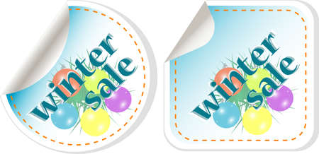 Winter Sale stickers set with christmas balls. vector Stock Photo - 11536081