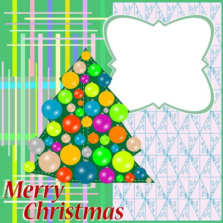 Christmas fir tree with colorful balls and decorations Vector