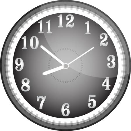 Silver vector wall clock with black face Vector