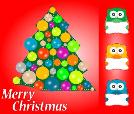 Christmas greeting card with cute owls Vector