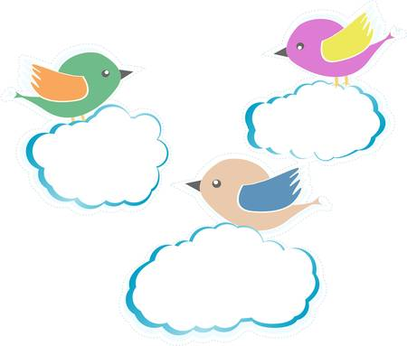 Birds On Clouds isolated on white Vector