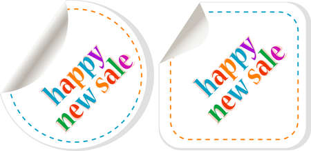 Winter Happy New Sale stickers vector set on white Stock Photo - 11596117