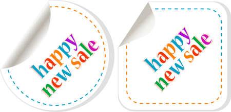 Winter Happy New Sale stickers vector set on white Stock Photo - 11596117
