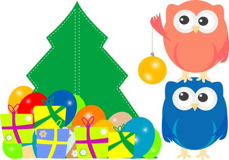 owl family on Merry Christmas Greeting Card Vector
