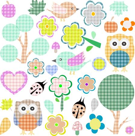 Set of nature and animalstextile stickers Vector