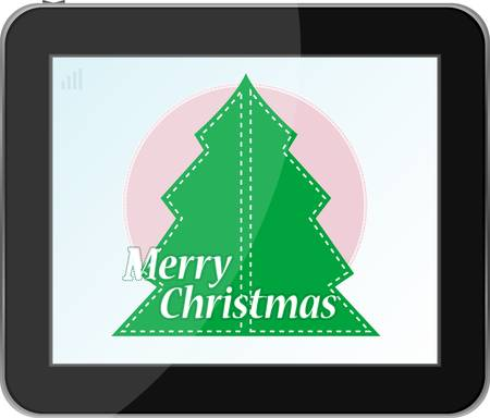 christmas tree in table pc Vector
