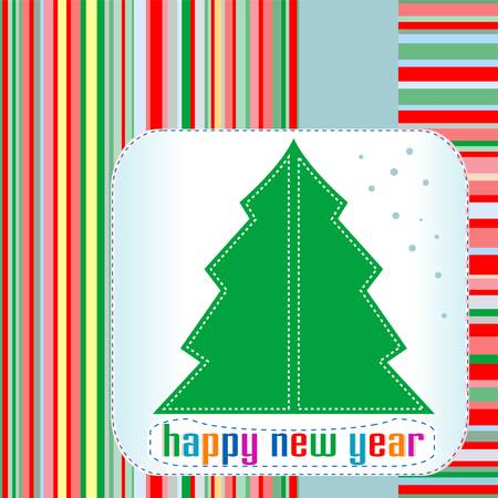 Christmas tree with Happy New Year greetings Vector