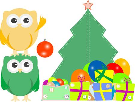 owl family with christmas tree, balls, balloons Stock Vector - 11636682