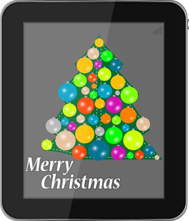 Christmas card in smartphone isolated on a white background Vector