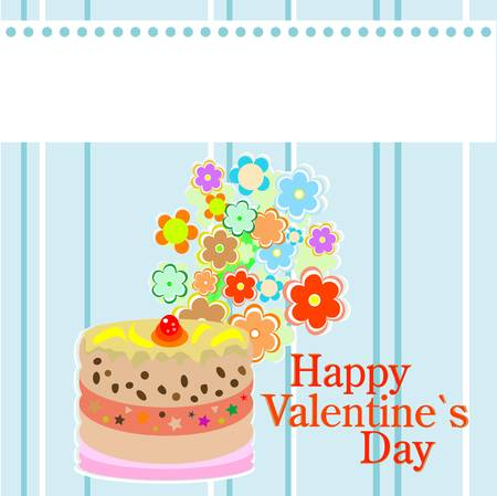 valentine`s party flowers and delicious sweet cakes. invitation card Vector