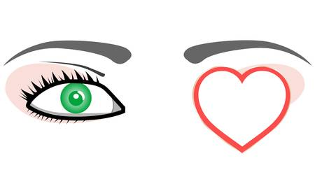 Green eye with valentines or wedding love heart. Stock Vector - 11830443