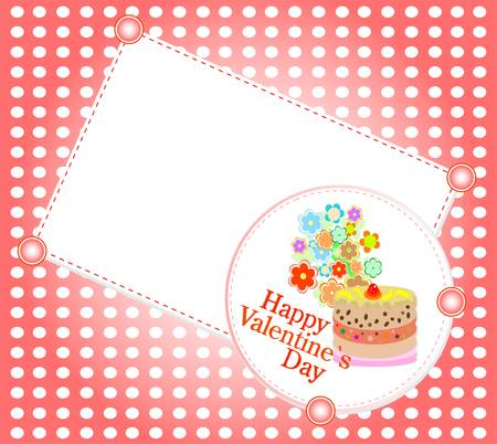 Celebration card. Valentine`s cake with space for text. Vector