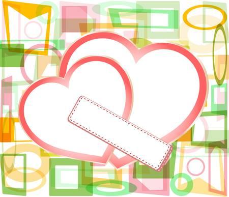 carte de visite vierge: deux c?urs en papier Saint-Valentin avec une carte d'affaires vierge