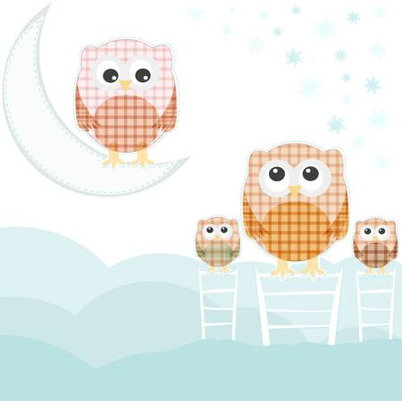 cute card with family owls on sky over cloud Vector