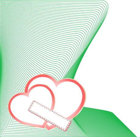 scrapbooking element: wedding card with two hearts, scrap-booking element Illustration