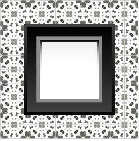home accents: Frame with empty space on the floral wallpaper.