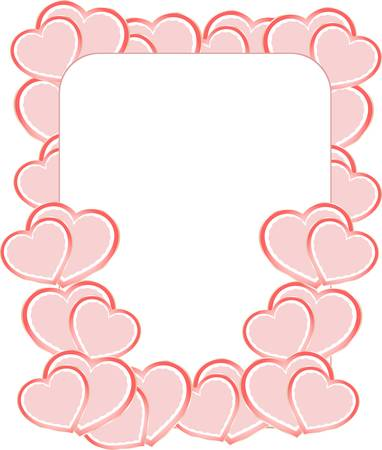 blank card on valentine confetti make of hearts Illustration