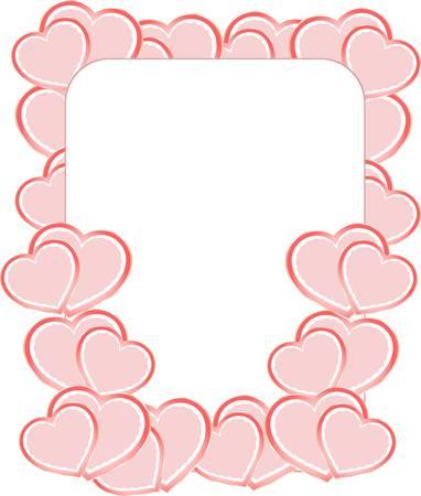 glitter heart: blank card on valentine confetti make of hearts Illustration