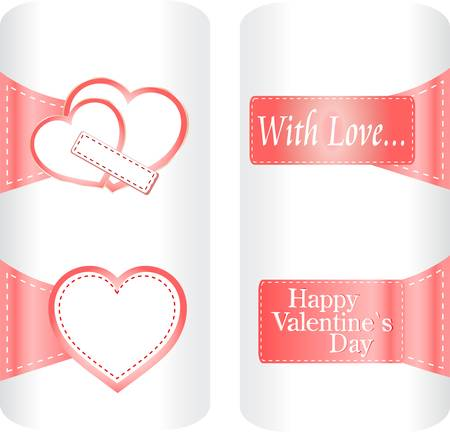 Collection of cute heart stickers for wedding or valentine`s day.  Vector