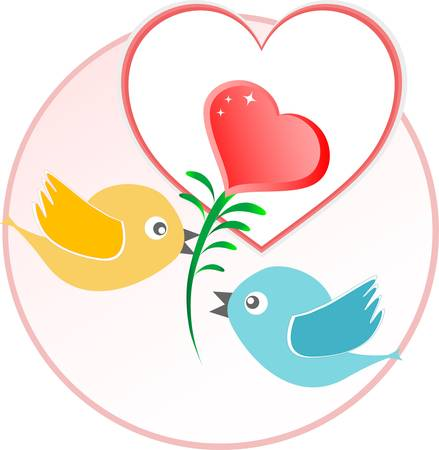 red love bird with heart balloons over beige background.