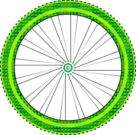 spokes: bicicleta de rueda con llanta y radios aisladas sobre fondo blanco.