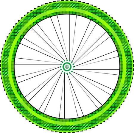 bike wheel with tire and spokes isolated on white background.