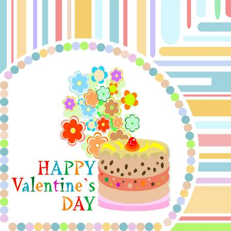 Vector valentine`s day frame with sweet cupcake. vector Vector