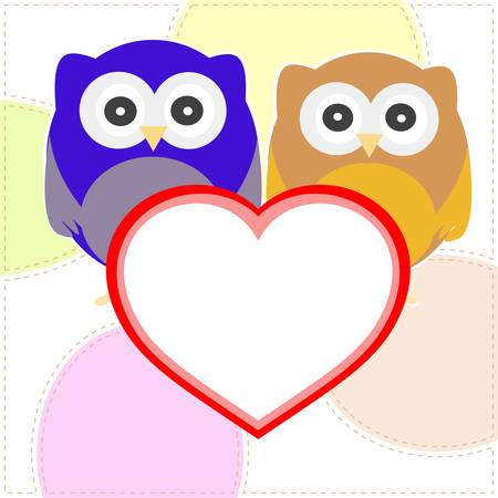 cartoon heart: Background with couple of owls with valentines love heart