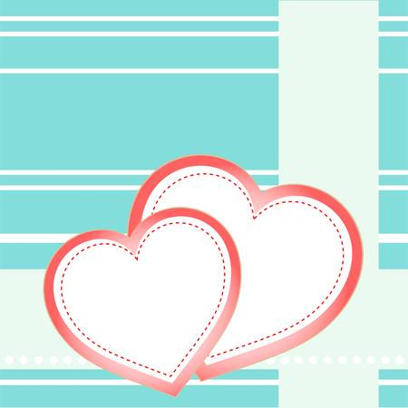postcard two hearts and love holiday vector Vector