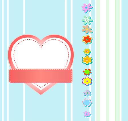 Valentines Day grunge background Heart and flowers Vector