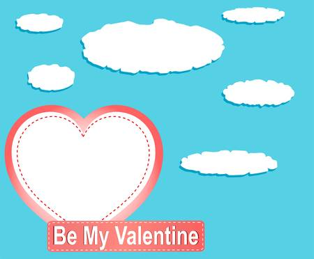 Valentine heart balloons and clouds against blue sky Vector