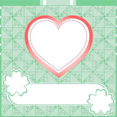 bank statement: Graffiti love heart. Wedding green vector background Illustration