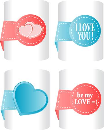 valentines and wedding stickers or tags set Vector