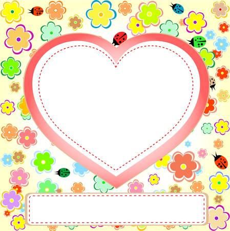 cute scrap set with flower, heart, ladybug and empty space Vector