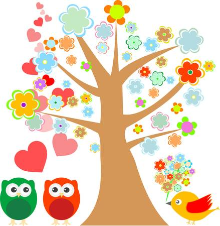 owls in love and bird with cute floral tree